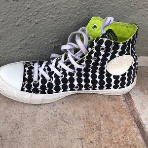 High Top black and white polkadot converse